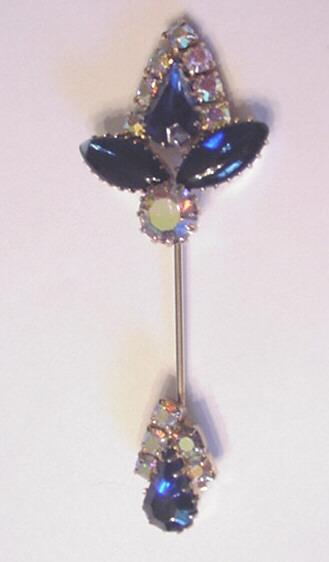 Blue Glass Rhinestone Hat Pin