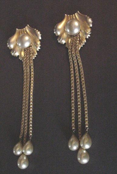 Brass and Faux Pearl Dangles Dress Clips