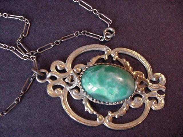Vintage Green Glass and Brass Necklace