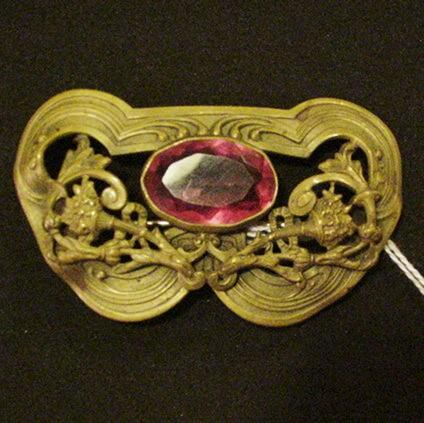 Art Nouveau Brass and Pink Glass Sash Pin