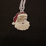 Vintage Sterling Silver Enameled Santa Claus Christmas Charm