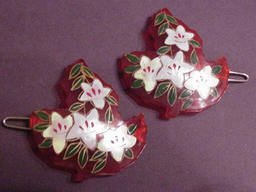 Vintage Red Lucite Hand Painted Barrettes