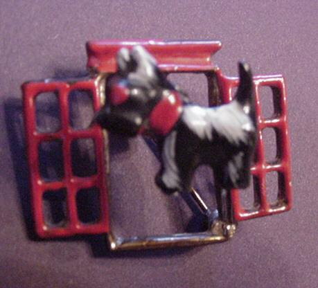 Vintage Enameled Scottie Doggy in the Window Trembler Pin