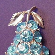 Vintage Blue Rhinestone Fruit Pear Pin