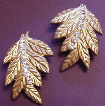 Vintage Pair of Celluloid and Rhinestone Leaves Dress Clips