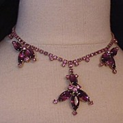 Vintage Pink and Amethyst Rhinestone Necklace