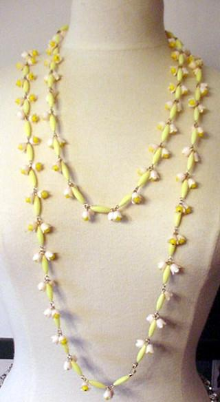Yellow and Pink Plastic Flowers Necklace