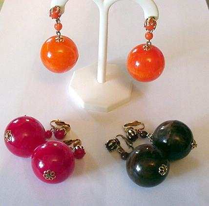1960's Plastic Big Dangle Earrings