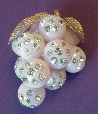 Lucite and Rhinestones Forbidden Fruit Grapes Pin