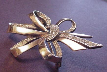 Boucher Sterling Silver and Rhinestone Bow Pin