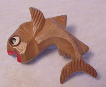 Carved and Hand Painted Flying Fish Pin