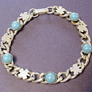 Victorian Revival Chain Link Bracelet with  Faux Turquoise