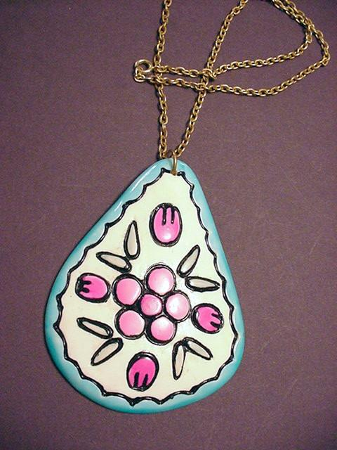 Huge A. Davies Floral Pendant Necklace