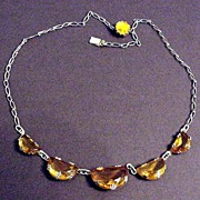 Half Moon or Demi Moon Shaped Topaz Glass Necklace