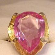 Pink Teardrop Rhinestone Ring