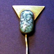 Art Deco Brass and Glass Stick Pin