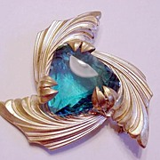 Big Ocean Blue Rhinestone Pin