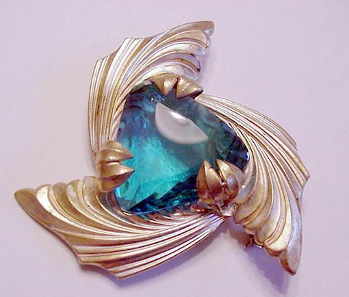 Big Ocean Blue Rhinestone Pin