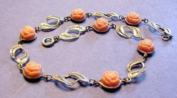 Celluloid Roses and Brass Necklace