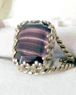 Vintage Brass and Purple Striped Glass Ring