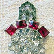 Art Deco Red Rhinestone Dress Clip