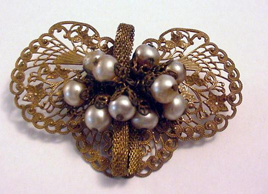 Earlier Miriam Haskell Faux Baroque Pearl and Mesh Pin