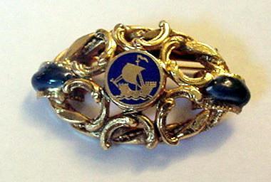 Sandor Cobalt Blue Enameled Ship Pin