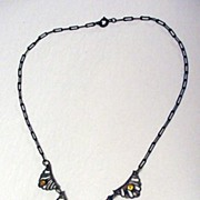 Brass and Topaz Glass Antique Lavaliere Necklace