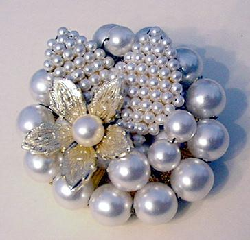 Hand beaded and Wired Faux Pearl Pin