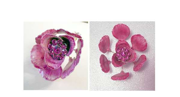 Vendome Pink Enamel and Rhinestone Open / Closed Flower Bloom Pin
