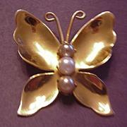 Coro Faux Pearl Butterfly Pin