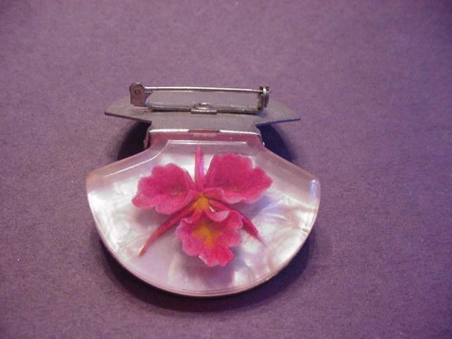 Fuchsia Colored Flower Under Lucite Pin and Clip Combo