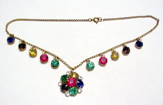 Czechoslovakia Bold Colors Rhinestone Drops Necklace
