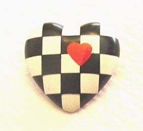 Vintage Checker Heart Pin Hallmark
