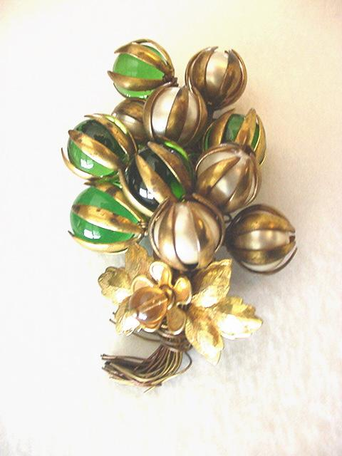 Superb 1930's Wired Brass & Glass Bouquet Pin