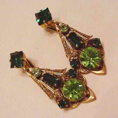 Vintage Brass and Green Glass Earrings