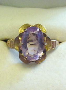 Vintage Clark & Coombs Amethyst and Gold Filled Ring