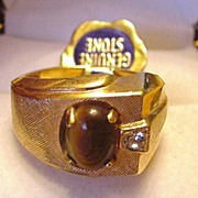 Vintage Tiger's Eye Stone Ring with Original Tag