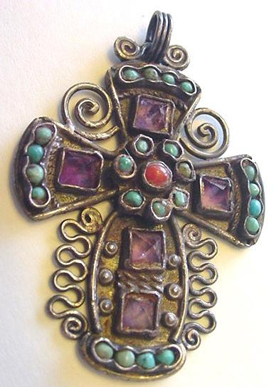 Early Matl Matilde Poulat Sterling Silver Amethyst & Turquoise Cross