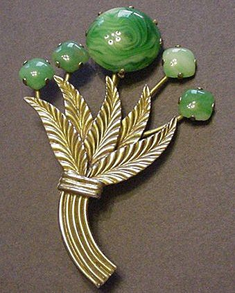 BIG Vintage Green Art Glass & Brass Pin