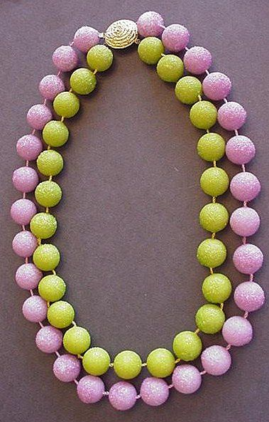 Big Bold Olivine and Lavender Raspberry Sugar Bead Necklace