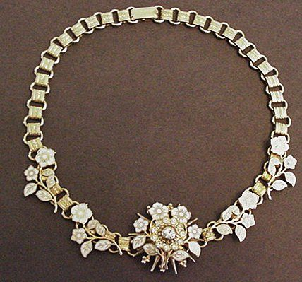 Delicate White Enameled Floral Choker Necklace