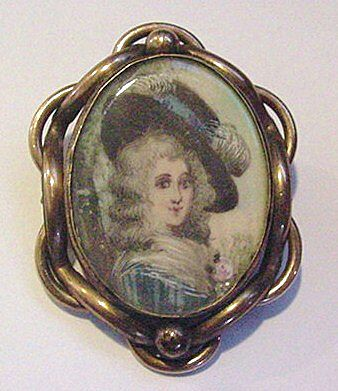 Antique Victorian Miniature Portrait Pin