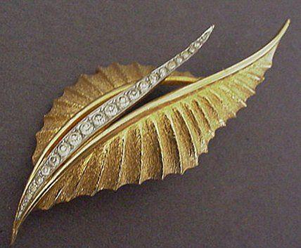 Jomaz Rhinestone Leaf Pin