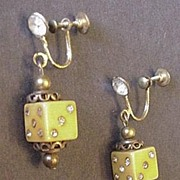 Old Bakelite and Rhinestone Dice Earrings