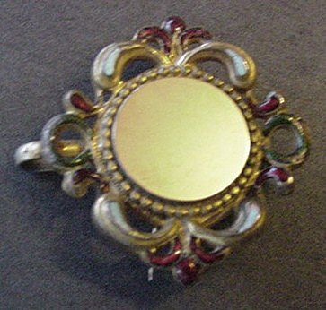 Antique Enamel Watch Pin
