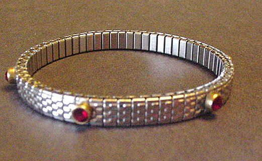 Flexible Silver Colour Bracelet with Ruby Red Rhinestones