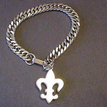 Silver Tone Link Fleur de Lys Bracelet