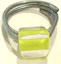 Vintage Yellow Striped Lucite Ring