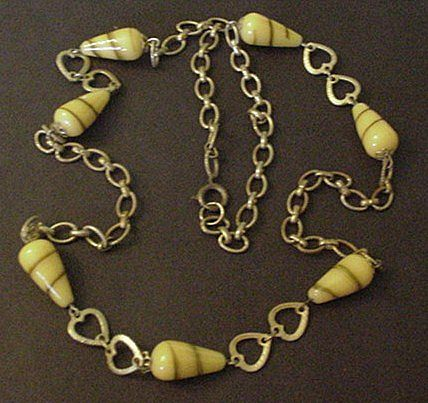 Vintage Yellow Glass and Brass Necklace